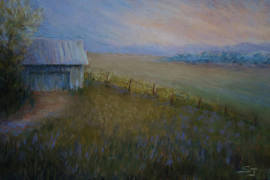 Landscape Pastel - Last Farm Light by Susan Jenkins