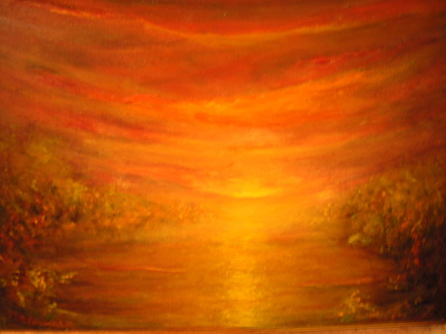 Sunset Painting - Last Glow Sunset by Eileen Anderson