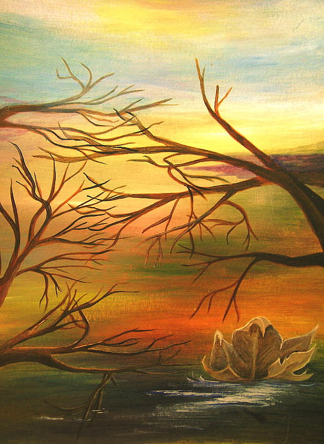 Landscape Painting - Last Leaf Of Fall by Vivian  Mosley