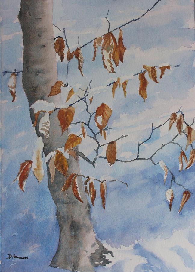 Beech Painting - Last Leaves by Debbie Homewood