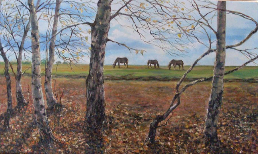 Landscape Painting - Last Leaves by Mikhaylichenko Aleksandlra Peter