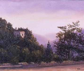 Last Light At Beiteddine Painting by Biki Chaplain