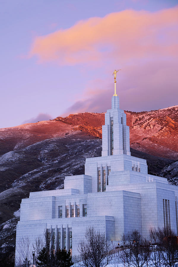 Draper Photograph - Last Light at Draper Temple by Chad Dutson