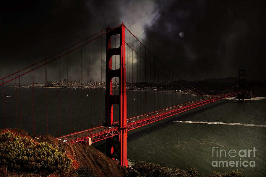 San Francisco Photograph - Last Light Beyond The Golden Gate . 7d14507 by Wingsdomain Art and Photography