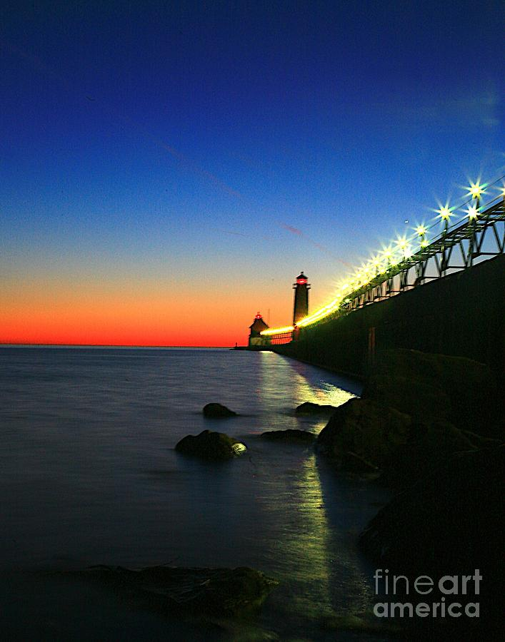 Water Photograph - Last Light Grand Haven Michigan by Robert Pearson