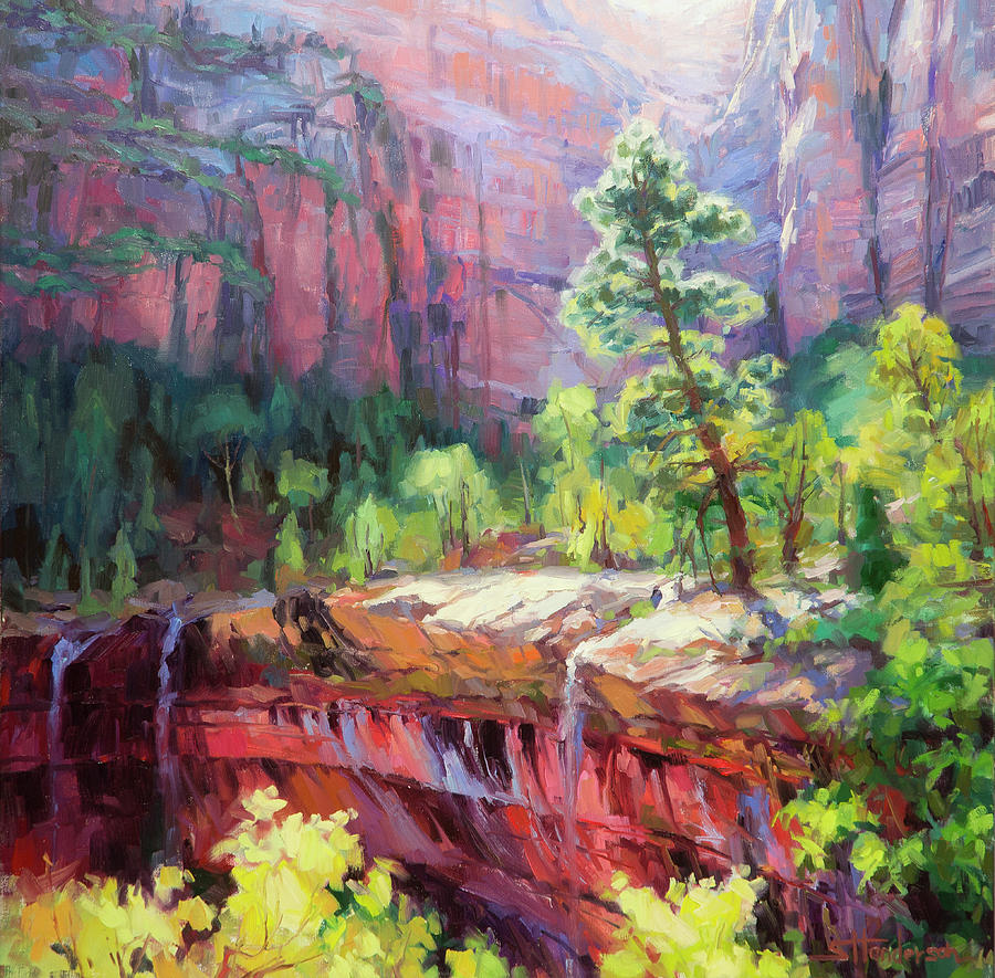 Zion Painting - Last Light In Zion by Steve Henderson