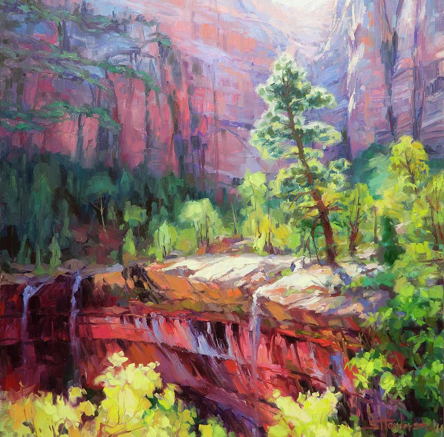 Zion Painting - Last Light in Zion by Steve Henderson