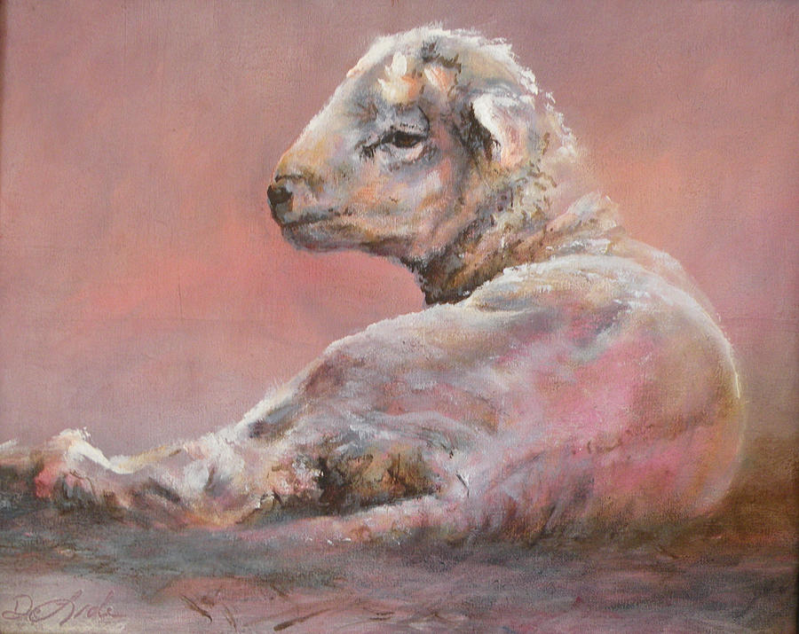 Sheep Painting - Last Light by Mia DeLode