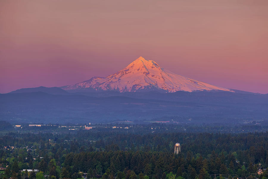 Mount Hood Photograph - Last Light On Mount Hood From Rocky Butte by David Gn