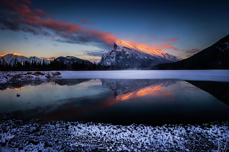 Canada Photograph - Last Light on Mount Rundle by Peter OReilly