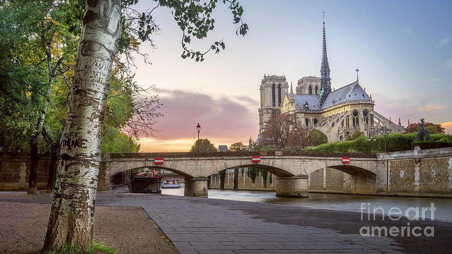 Church Photograph - Last Light On Notre Dame De Paris by Vyacheslav Isaev