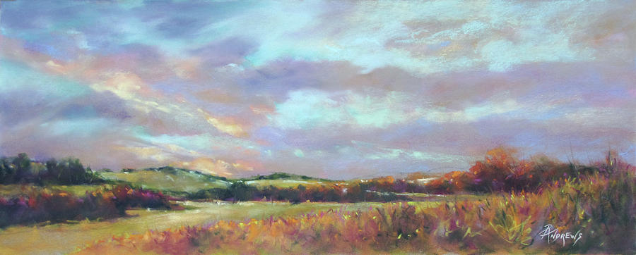 Landscape Painting - Last Light Over The Hills. France by Rae Andrews