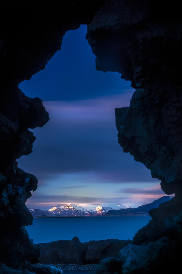 Blue Photograph - Last light through Lava by Glen Sumner