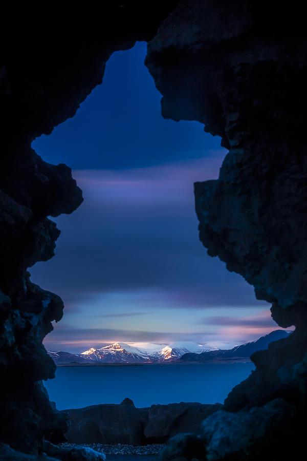 Blue Photograph - Last Light Through Lava by Glen Sumner