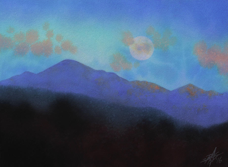 Landscape Painting - Last Light With Moonrise Over Iron Mountain by Robin Street-Morris