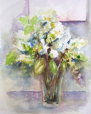 Flowers Painting - Last Lilacs by Gilberte Vermeulen
