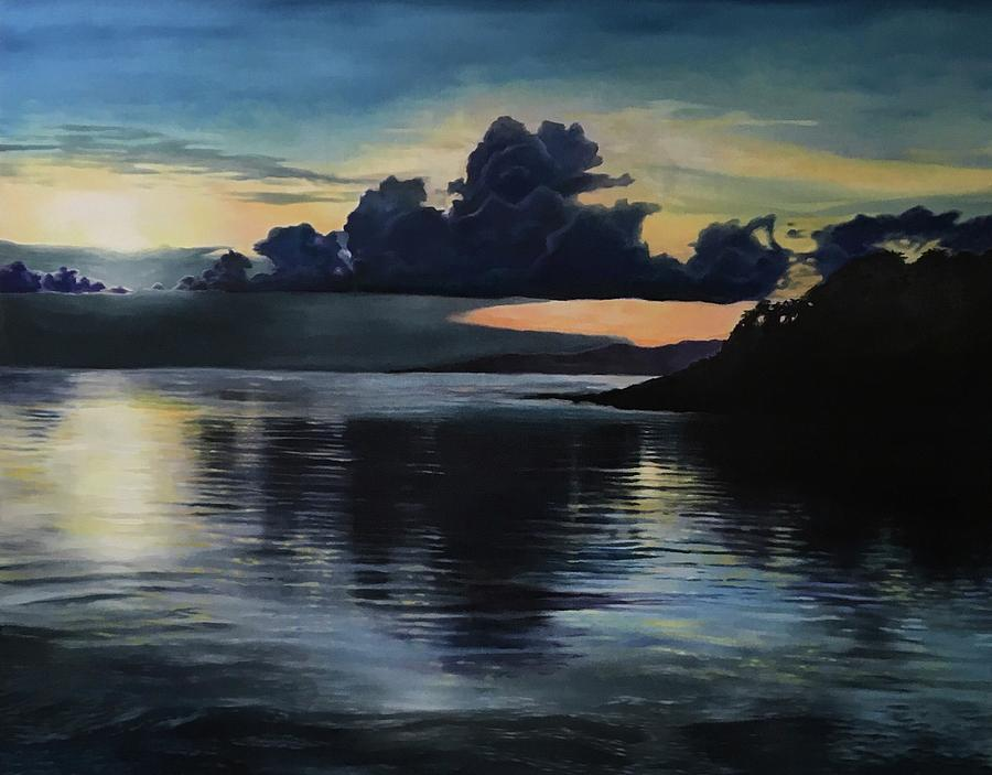 Water Painting - Last Look At Lusias Lagoon by Darren Mulvenna