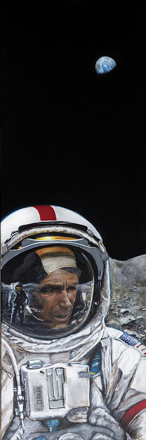 Nasa Painting - Last Men- Gene Cernan by Simon Kregar