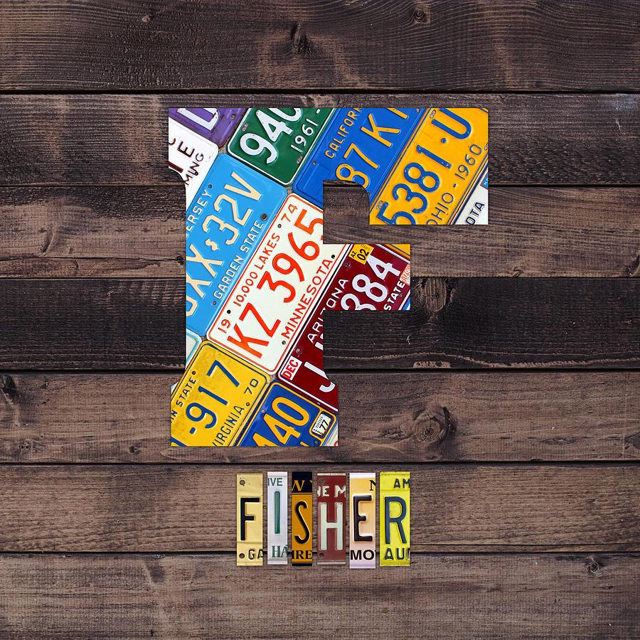 Letter F Mixed Media - Last Name Letter F Monogram License Plate Art Custom by Design Turnpike