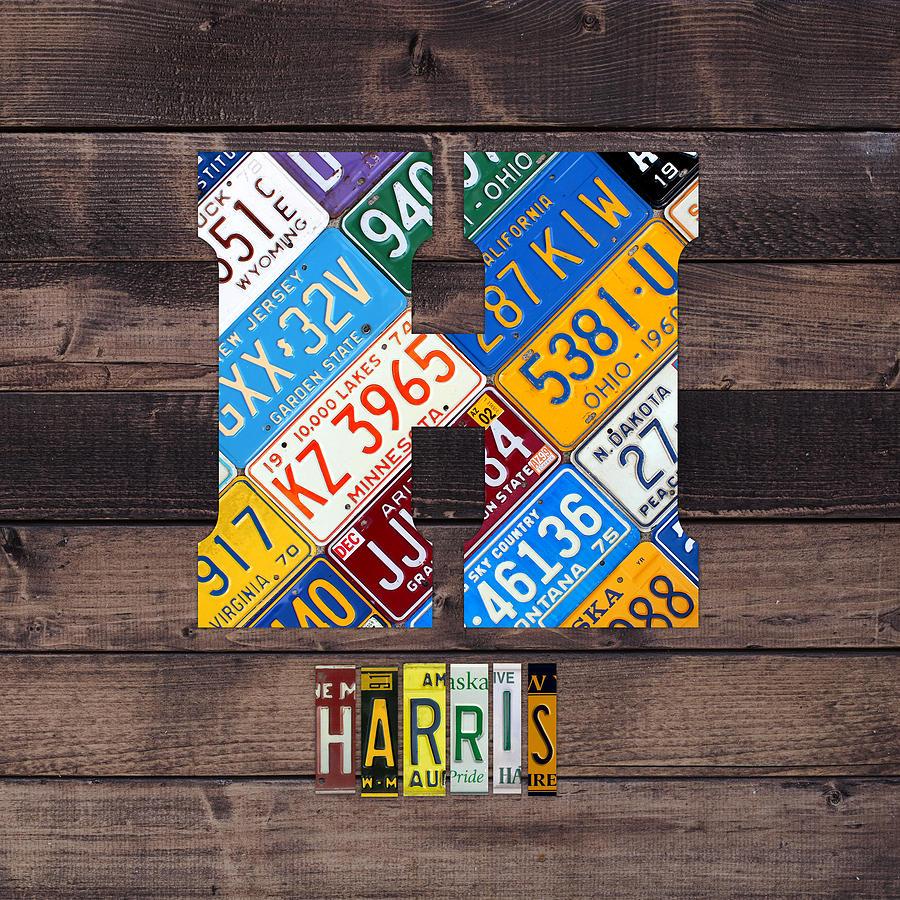 Letter H Mixed Media - Last Name Letter H Monogram License Plate Art Custom by Design Turnpike