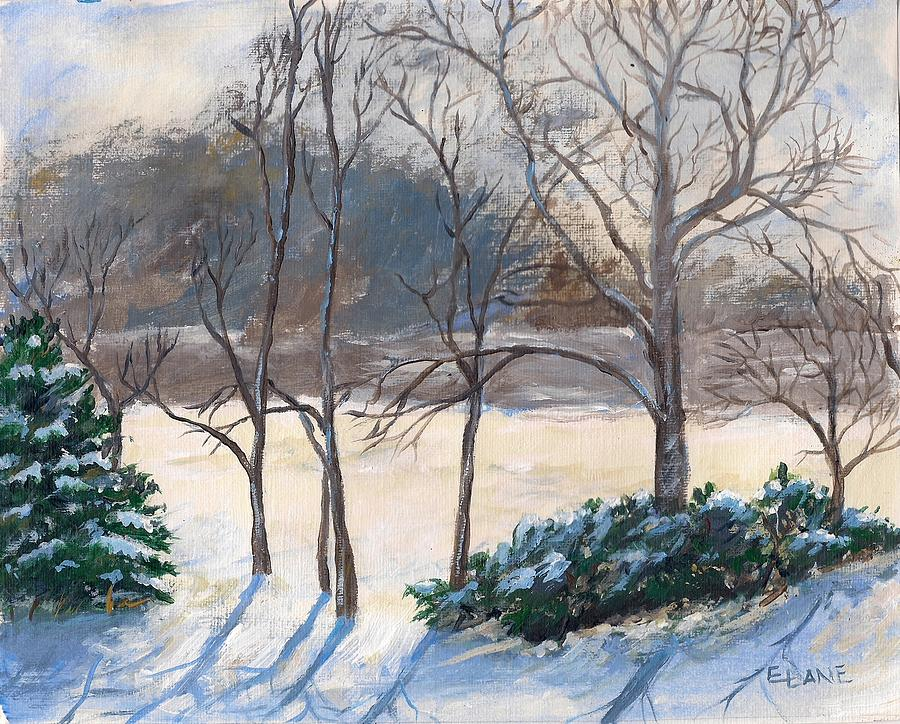 Winter Snow Mixed Media - Last Nights Snow by Elizabeth Lane