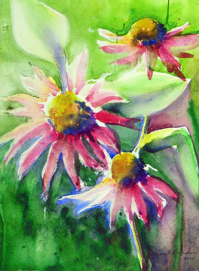 Flowers Painting - Last of the coneflowers by Diane Binder