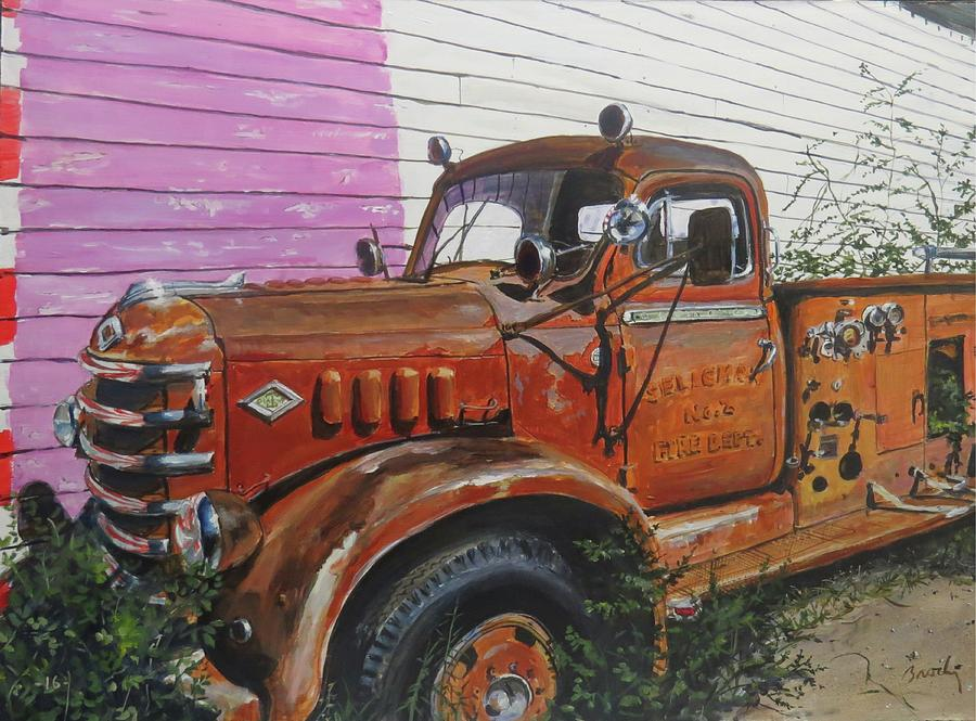 Firetruck Painting - Last Parade by William Brody