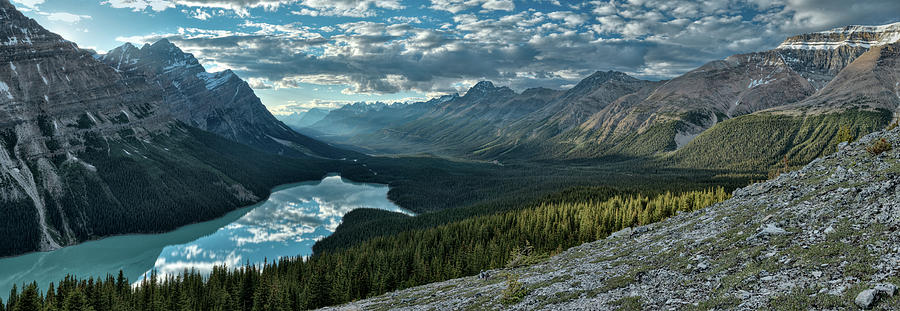 Trees Photograph - Last Rays Of Light Over Peyto Lake by Sebastien Coursol