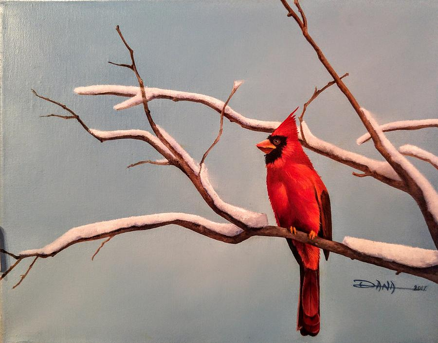 Birds Painting - Last Snow Of Winter, Cardinal by Dana Newman