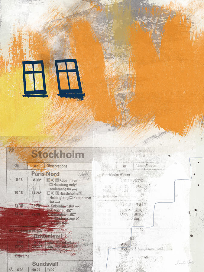 Stockholm Mixed Media - Last Train To Stockholm- Art By Linda Woods by Linda Woods
