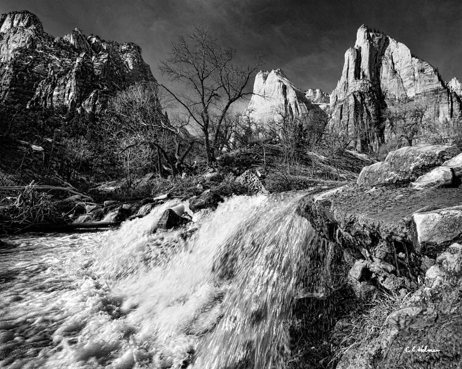 Mountains Photograph - Late Afternoon At The Court Of The Patriarchs - Bw by Christopher Holmes