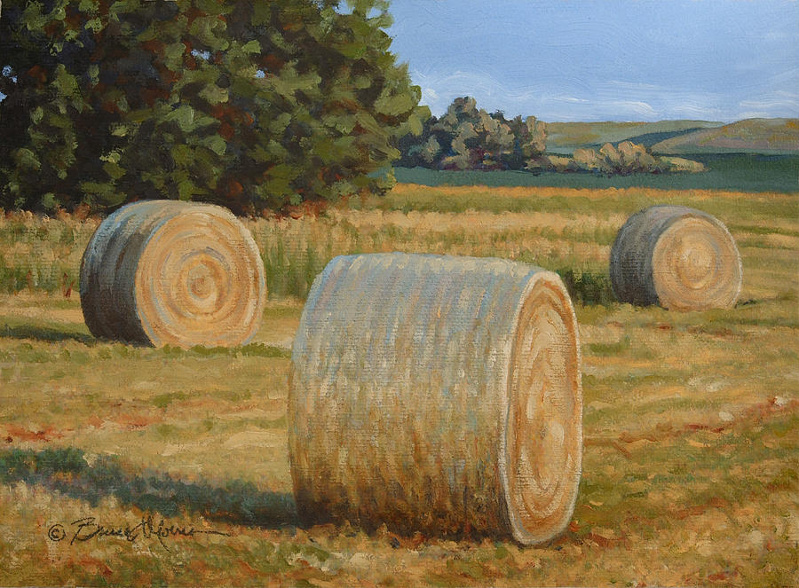 Late Afternoon Bales - Plein Air by Bruce Morrison