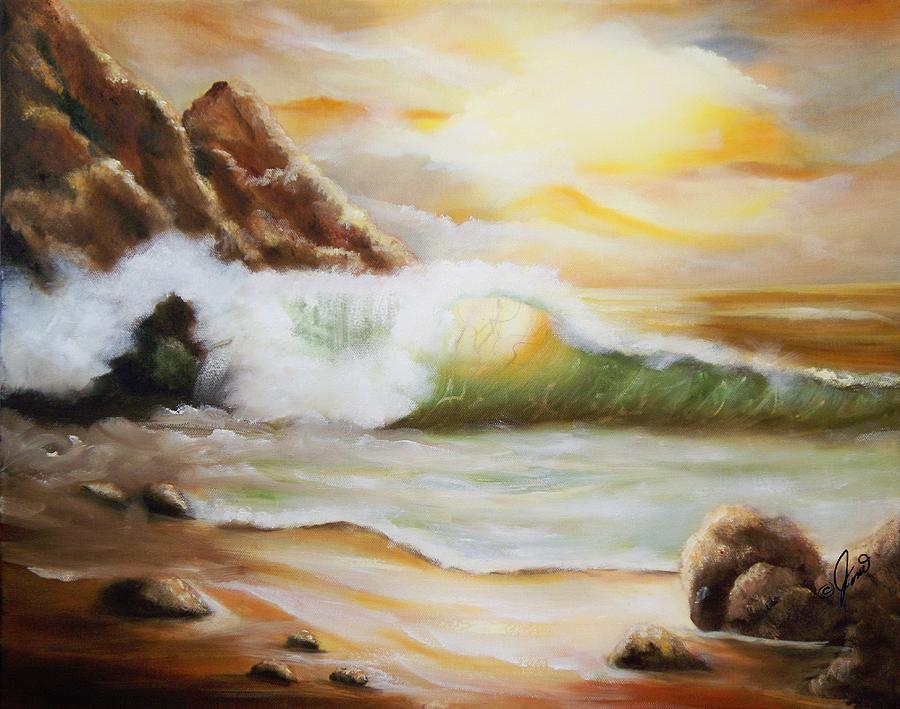 Seascape Painting - Late Afternoon Beach by Joni M McPherson