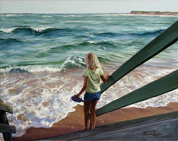 Beach Painting - Late Afternoon Beach Walk by Amanda Russian