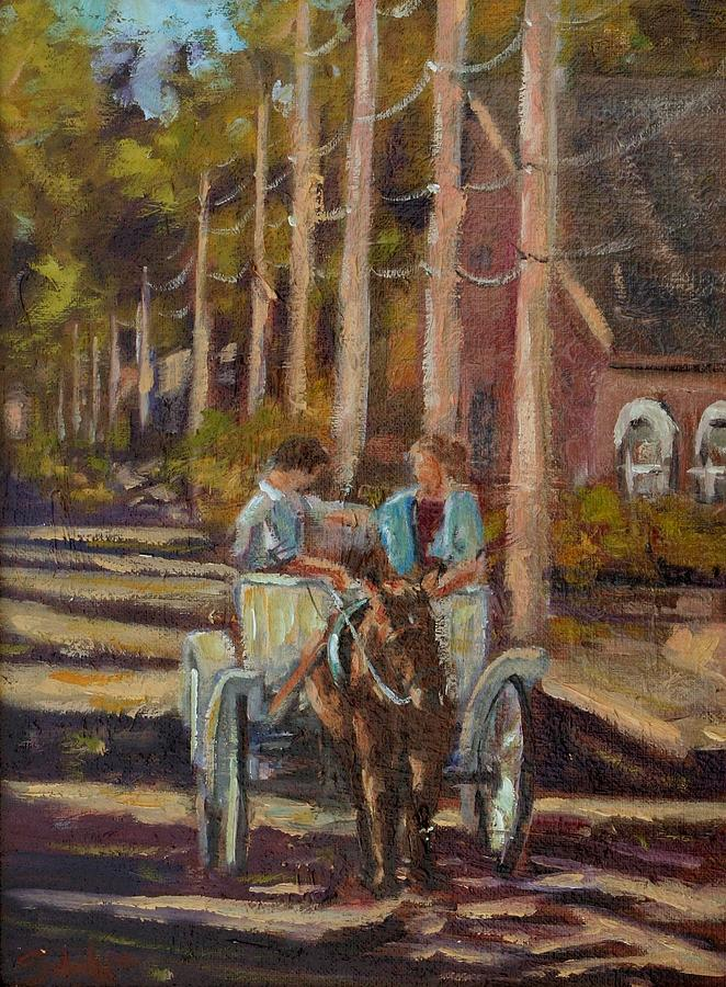 Horse And Buggy Painting - Late Afternoon Carriage Ride by Charles Schaefer
