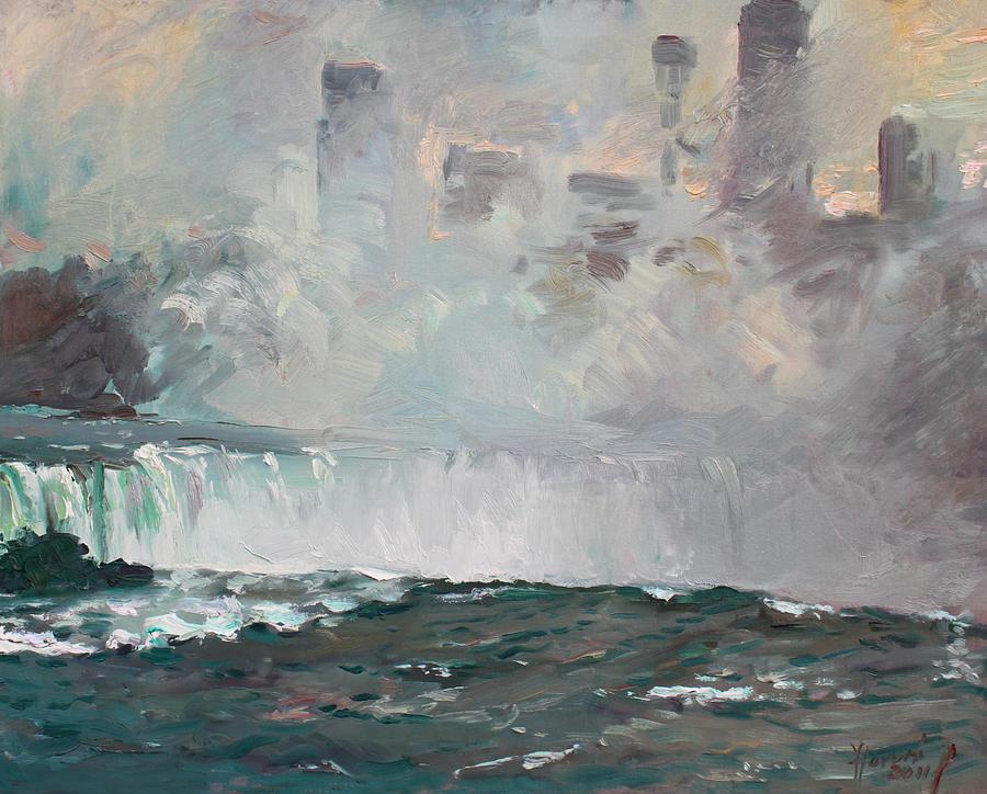 Niagara Falls Painting - Late Afternoon In Niagara Falls by Ylli Haruni