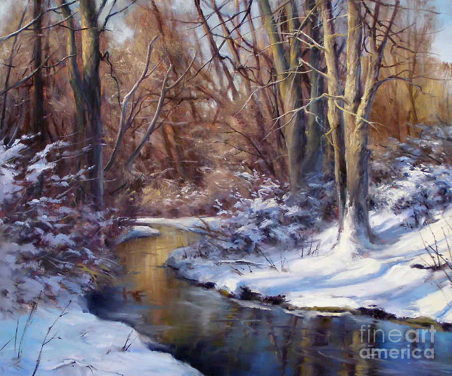Oil Painting Painting - Late Afternoon In Winter by Andrew Orr