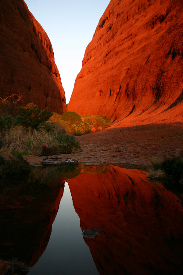 Late afternoon light and reflections at Kata Tjuta in the Northern Territory by Keiran Lusk