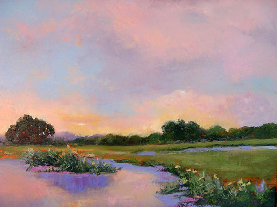 Palette Knife Painting - Late Afternoon On The Lake by Diane Martens
