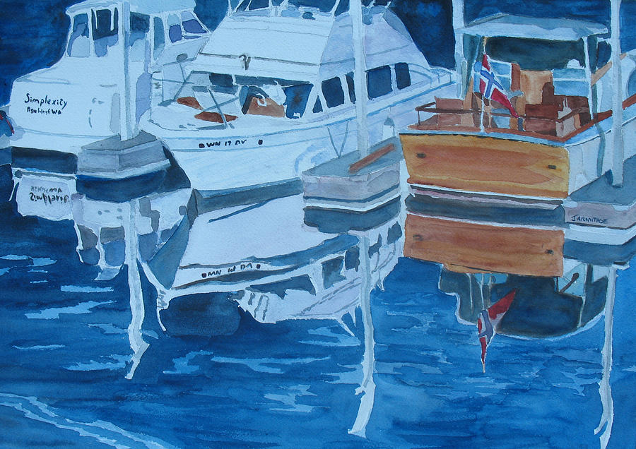 Boats Painting - Late Afternoon Reflections by Jenny Armitage