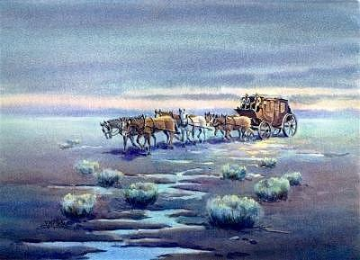 Coach Digital Art - Late Afternoon Stagecoach by Sharon Sharpe