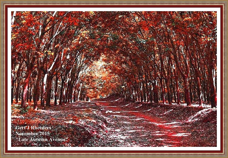 Autumn Painting - Late Autumn Avenue H A With Decorative Ornate Printed Frame. by Gert J Rheeders