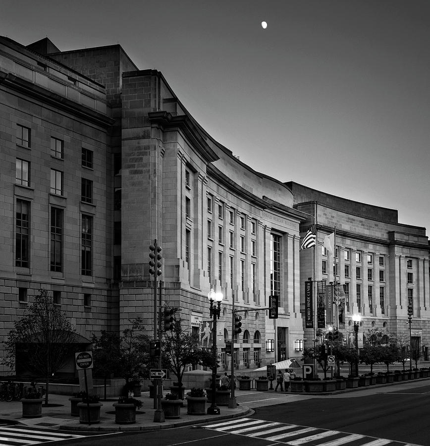 Late Evening At The Ronald Reagan Building In Black And White Photograph by Greg Mimbs