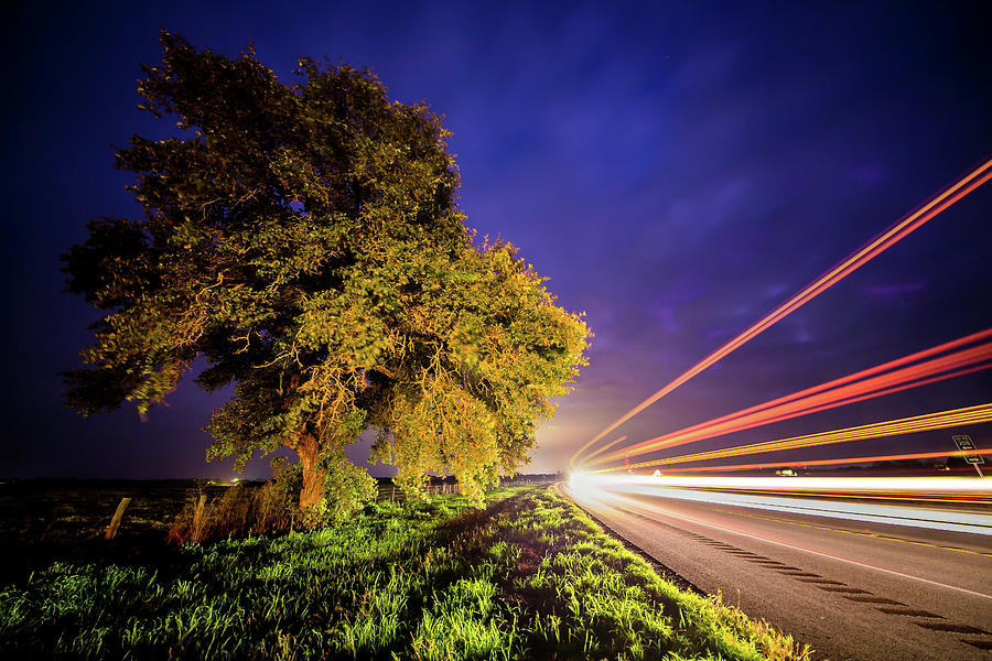 Late Night Texas Country Road Traffic Light Trails by Micah Goff