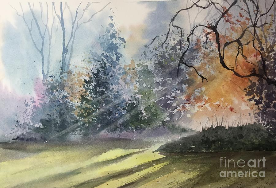 Watercolor Landscape Painting - Late Summer  by Yohana Knobloch