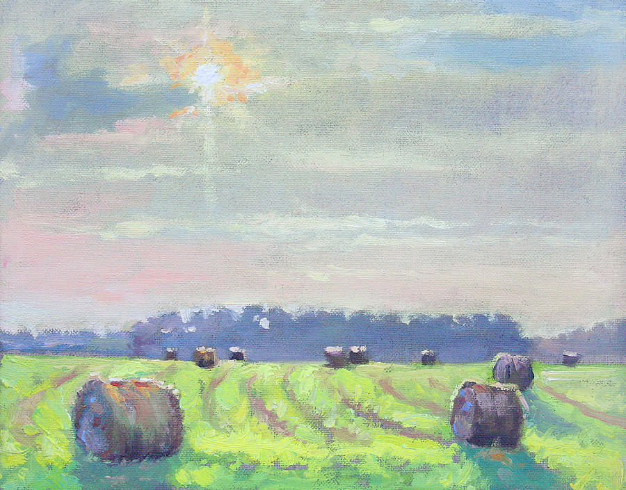 Rural Painting - Late Sun Haybales- Plein Air by Larry Seiler