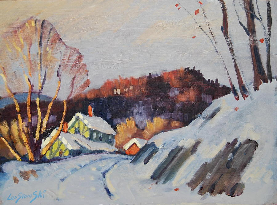 Berkshire Hills Paintings Painting - Late Sun by Len Stomski