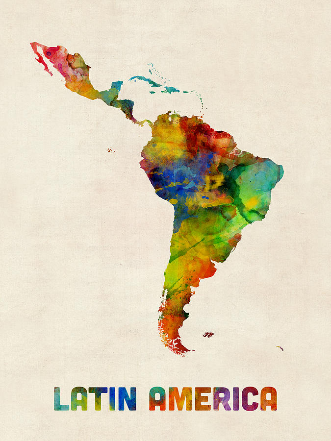 Latin america watercolor map digital art by michael tompsett for What color is south america