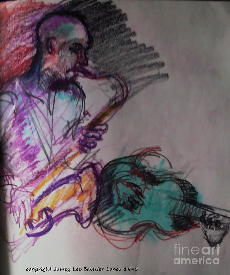 Saxophone Drawing Drawing - Latin Jam by Jamey Balester