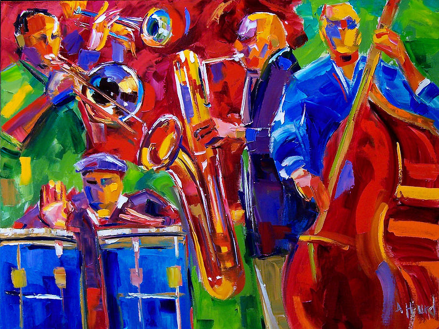 Jazz Music Painting - Latin Music by Debra Hurd